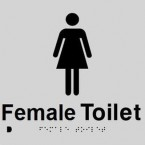 Black On Silver - Braille Sign Female Toilet - Plastic - 180x180