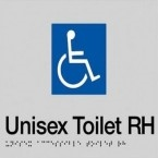 Black On Silver - Braille Sign Unisex Accessible Toilets RH - Plastic - 180x180