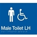 White On Blue - Braille Sign Male Accessible Toilets LH - Plastic - 210x180