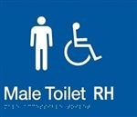 White On Blue - Braille Sign Male Accessible Toilets RH - Plastic - 210x180