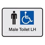 Black On Silver - Braille Sign Male Accessible Toilets LH - Plastic - 210x180