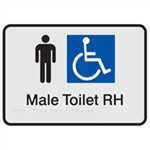 Prem Braille Sign Male Tlt Blk/Slv Rh , Safety Signs, Sold Per Sgn With Qty Of  1