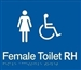 White On Blue - Braille Sign Female Accessible Toilets RH - Plastic - 210x180