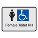 Black On Silver - Braille Sign Female Accessible Toilets RH - Plastic - 210x180
