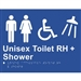 White On Blue - Braille Sign Unisex Toilet RH + Shower - Plastic - 235x180