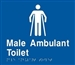 White on Blue - Braille Sign Male Ambulant Toilet - Plastic - 180x180
