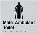Silver on Black - Braille Sign Male Ambulant Toilet - Plastic - 180x180