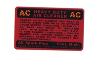 AC AIR CLEANER DECAL