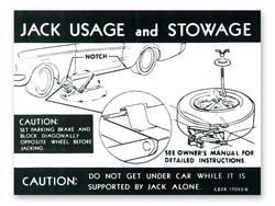 Jacking Instructions Decal with Styled Steel Wheels DF374 1968 - Osborn Reproductions