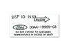 A/C Dryer Decal ECD DF549 1970 - Osborn Reproductions