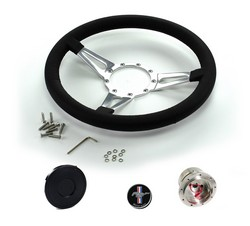 Steering Wheel Kit Black Leather Teardrop Spokes with Mustang Emblem 1965 - 1966