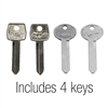 Key Blank Set of 4 Ignition and Trunk Original Style 1967 - 1973 - Scott Drake