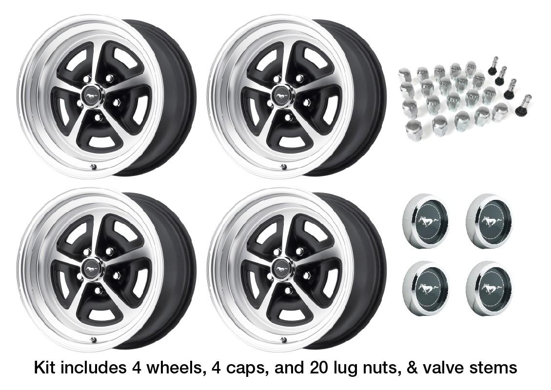 Magnum 500 Wheels >> Wheel Kit Aluminum Magnum 500 Satin Black Mustang Wheel Caps 15x7 1964 1 2 1973 Legendary Wheel Co