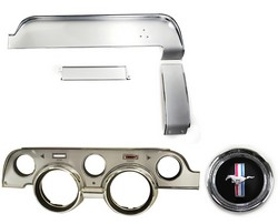 Instrument Bezel & Dash Trim Kit Brushed Aluminum / Deluxe with Emblem 1967