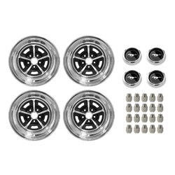 Wheel Kit Magnum 500 Mustang Wheel Caps 15X7 & 15X8 1964 1/2 - 1973 - Scott Drake