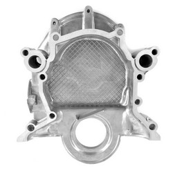Timing Chain Cover Small Block V8 Bolt On Pointer / Cast Iron Water Pump Style 1966 - 1973 - Scott Drake