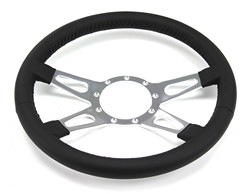 Steering Wheel Leather Black 4 Spoke With Teardrops 1964 - 1973