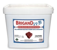 Brigand WB manufactured by PelGar USA. is a ready to use wax block formulated for maximum palatability and moisture resistance. The properties of Brigand WB keep the block stable for days, even when submerged in water.