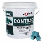 Bell Labs - Contrac All-weather Blox Rodenticide is a multi-edged, single feeding Rat and Mouse bait. It is formulated with an optimal blend of food grade ingredients and low wax to yield a highly palatable, bait that is very attractive to rodents.