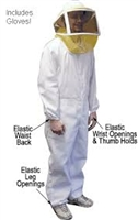 Complete Bee Suit - this comfortable, lightweight bee suit is constructed of a 50% cotton/50% polyester blend for strength and durability. Suit includes: coveralls with elastic wrists and ankles, mesh helmet, attached zipper veil and leather bee gloves.