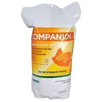 Neogen Companion Disinfectant Wipes - Fresh Citrus scent - effectively kills Parvovirus and Calicivirus. Provides effective cleaning and disinfection in a single operation. Non-corrosive even after repetitive uses.  Resealable pouch.