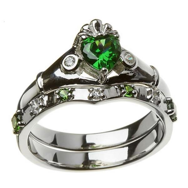 Claddagh Wedding Ring Set | 14k White Gold Green White Cz Claddagh Ring Wedding Ring Set