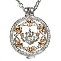 Sterling Silver Celtic Disc Holder Pendant With Removeable Claddagh/Shamrock Disc