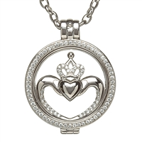 Sterling Silver Celtic Disc Holder Pendant With Removeable Claddagh Disc