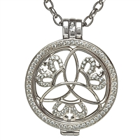 Sterling Silver Celtic Disc Holder Pendant With Trinity Knots and Crowns Disc