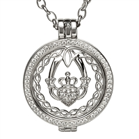 Sterling Silver Celtic Disc Holder Pendant With Removeable Claddagh and Celtic Knot Disc