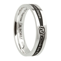 "Sterling Silver Siorai ""Irish Words"" Celtic Wedding Ring 5.2mm"
