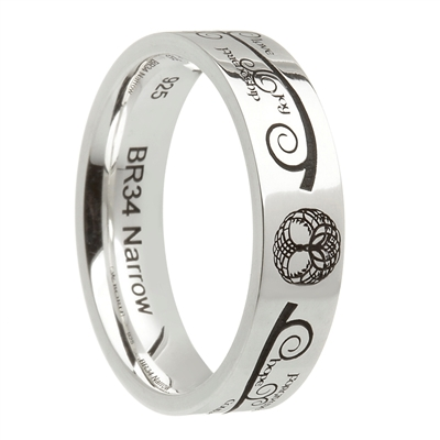 "Sterling Silver ""Tree of Life"" Celtic Wedding Ring 7.2mm"