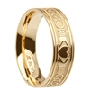 14k Yellow Gold Wide Celtic Knot Claddagh Wedding Ring 4.8mm