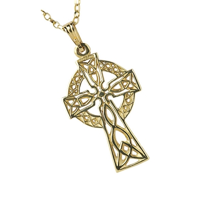10k Yellow Gold Medium Filigree Celtic Cross 29.3m