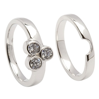 14k White Gold 3 Stone Diamond Celtic Engagement Ring & Wedding Ring Set