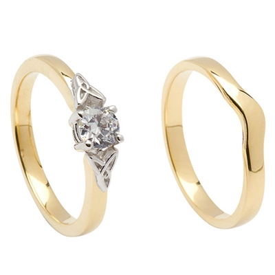 14k Yellow Gold Diamond 0.33cts Trinity Knot Celtic Engagement Ring & Wedding Ring Set