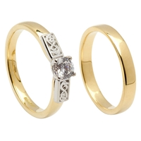 14k Yellow Gold Diamond 0.35cts Le Cheile Celtic Engagement Ring & Wedding Ring Set