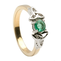 14k Yellow Gold Emerald Trinity Knot Celtic Engagement Ring