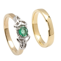 14k Yellow Gold Emerald Trinity Knot Celtic Engagement Ring Set