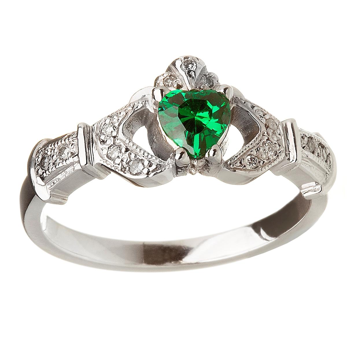 6b1b1b05e530c 14k White Gold Emerald Set Heart Claddagh Ring 12.4mm