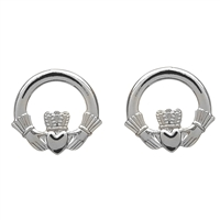 Sterling Silver Small Round Claddagh Earrings
