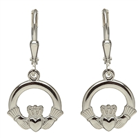 Sterling Silver Drop Claddagh Earrings