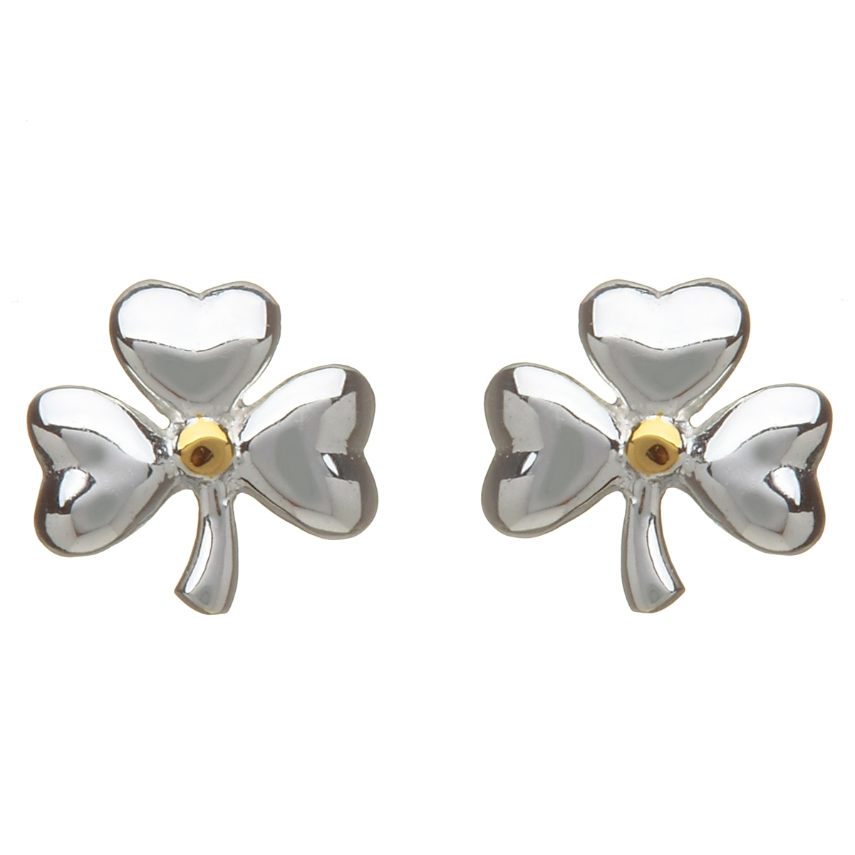 Sterling Silver Shiny Shamrock Stud Celtic Earrings With Gold Plated Accents