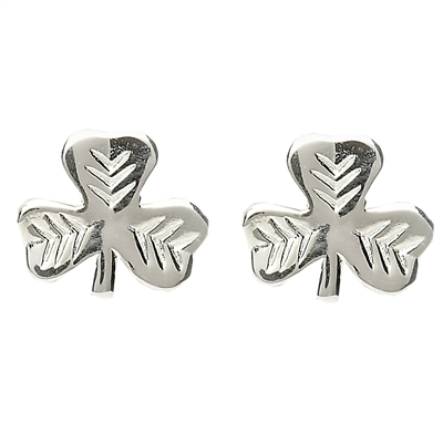 Sterling Silver Shiny Shamrock Leaf Pattern Stud Celtic Earrings