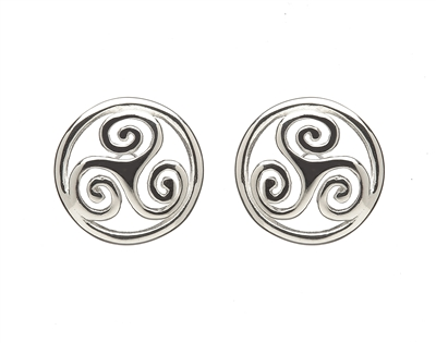 Sterling Silver Small Celtic Open Spirals With Round Surround Stud Earrings