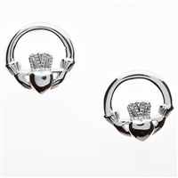 Sterling Silver Round Claddagh Earrings