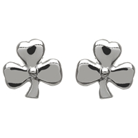 Sterling Silver Small Shiny Shamrock Stud Celtic Earrings