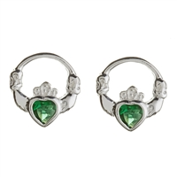 Sterling Silver Green CZ Stud Claddagh Earrings