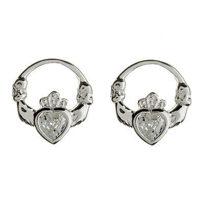 Sterling Silver CZ Stud Claddagh Earrings