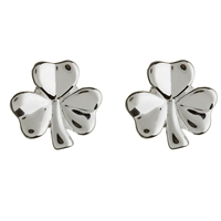 Sterling Silver Shiny Shamrock Stud Celtic Earrings